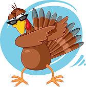 Funny Turkey Ready for Celebration Vector Cartoon