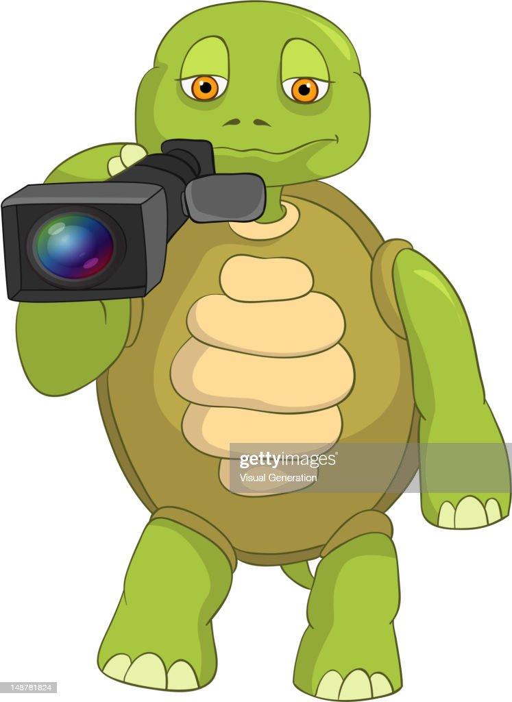 Funny Turtle. Cameraman.