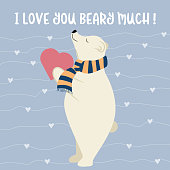 Funny Valentine's day card with polar bear