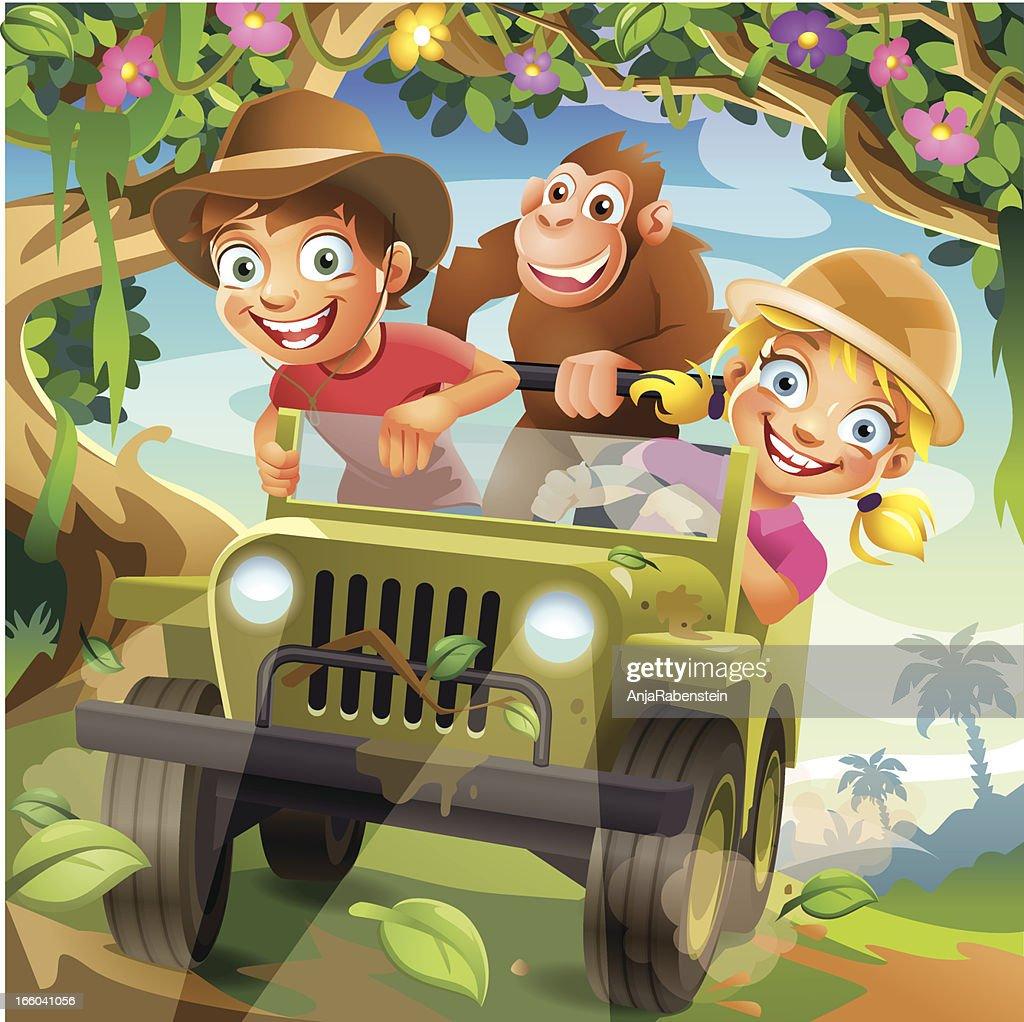 Funny Vector Cartoon Children driving in Off-Road Car through Jungle : stock illustration