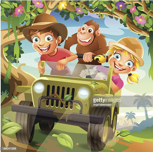 Funny Vector Cartoon Children driving in Off-Road Car through Jungle