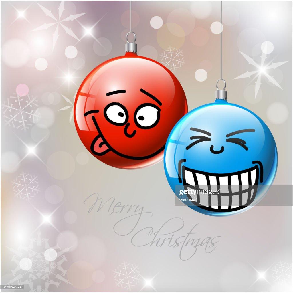 Lustige Weihnachtskugeln.Lustige Vektor Weihnachtskugeln Mit Gesichtern Stock Illustration