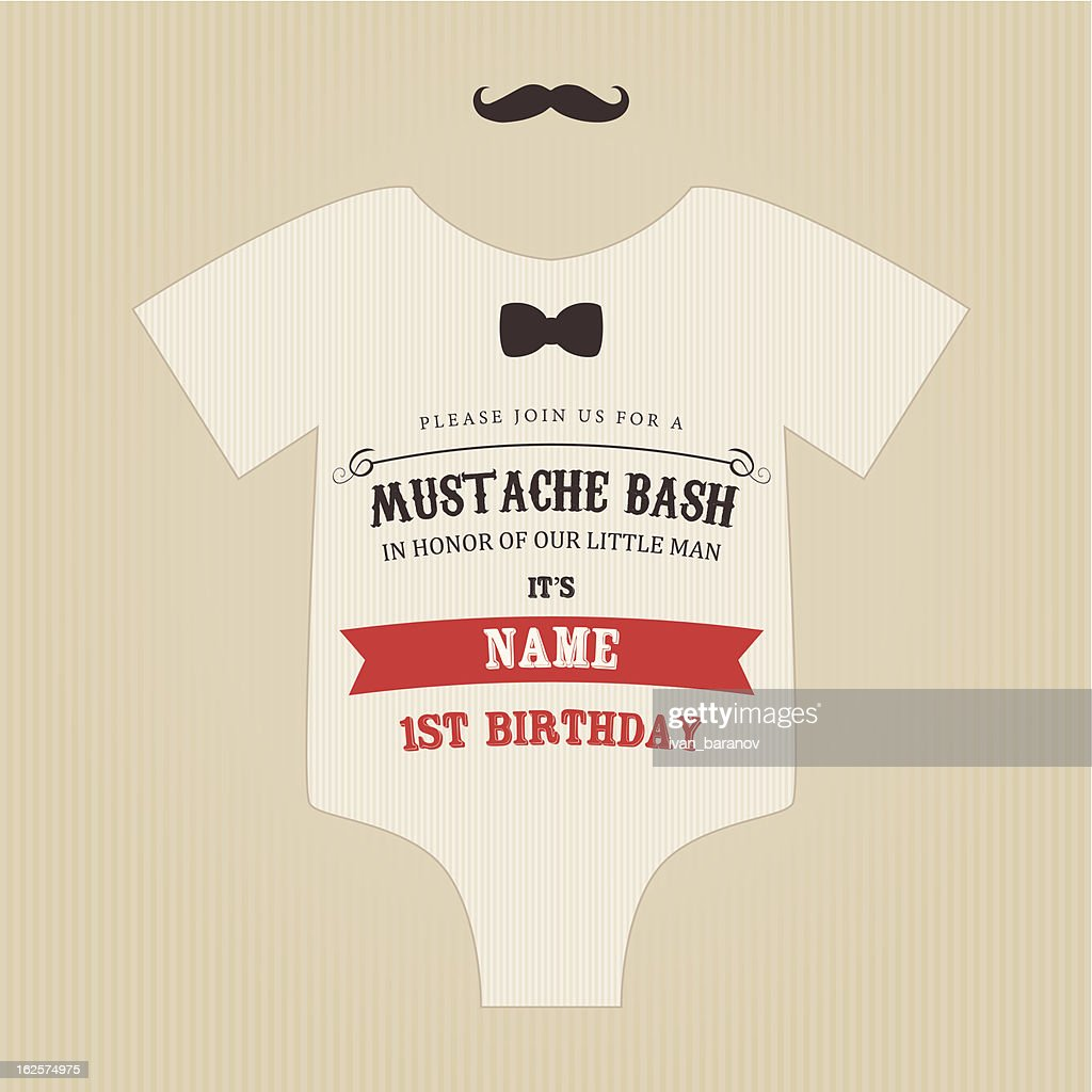 Funny vintage baby birthday mustache bash invitation