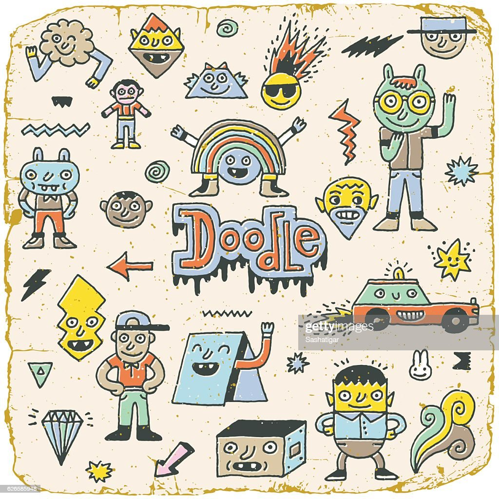 Funny Wacky Doodle Characters Set 13. Vintage Texture. Vector Illustration.
