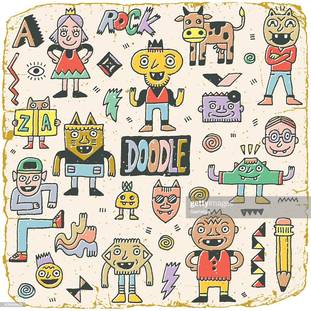 Funny Wacky Doodle Characters Set 15. Vintage Texture. Vector Illustration.