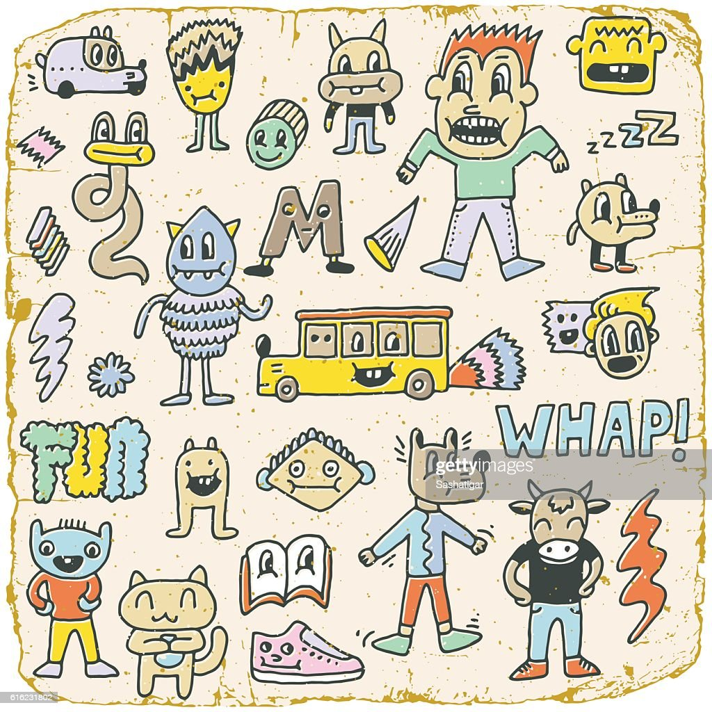 Funny Wacky Doodle Characters Set 6. Vintage Texture. Vector Illustration.