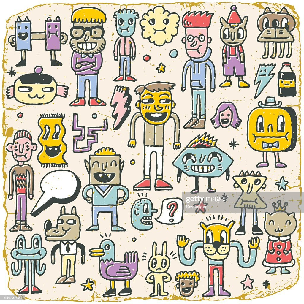 Funny Wacky Doodle Characters Set 7. Vintage Texture. Vector Illustration.