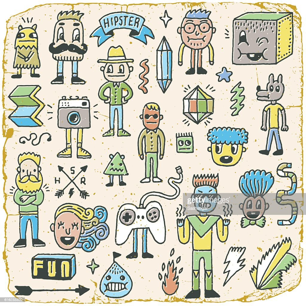 Funny Wacky Doodle Hipster Characters Set 2.