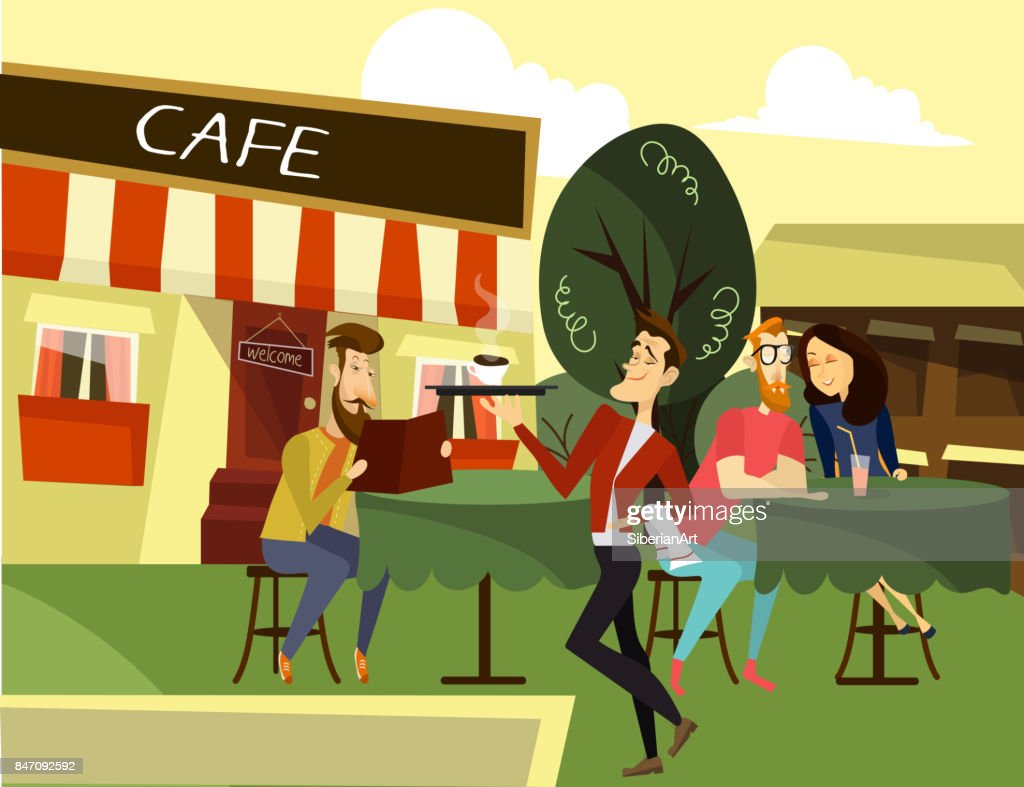 Funny waiter concept vector illustration