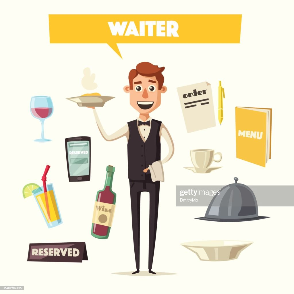 Funny waiter, cute character. Vector cartoon illustration