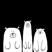 Funny white bears, sketch for your design