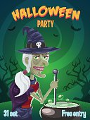 Funny Witch. Halloween poster