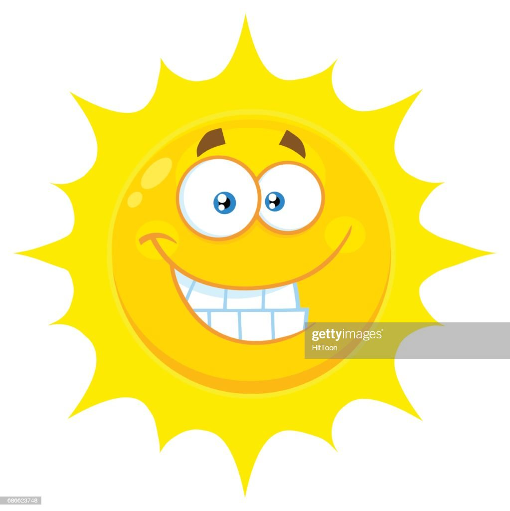 a334e62580ae Funny Yellow Sun Cartoon Emoji Face Character With Smiling Expression    Vector Art