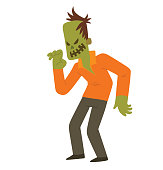 Funny zombie frightening someone