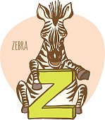 Funny zoo animals kid's alphabet. Hand drawn ink colorful style.