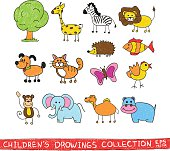 Funny zoo child hand drawing illustration. Cartoon animals vector doodles