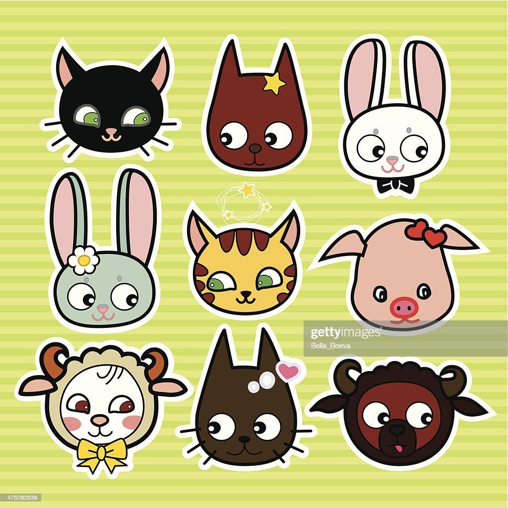 Funny_farm_animals_in_vector_ scrapbooking _set