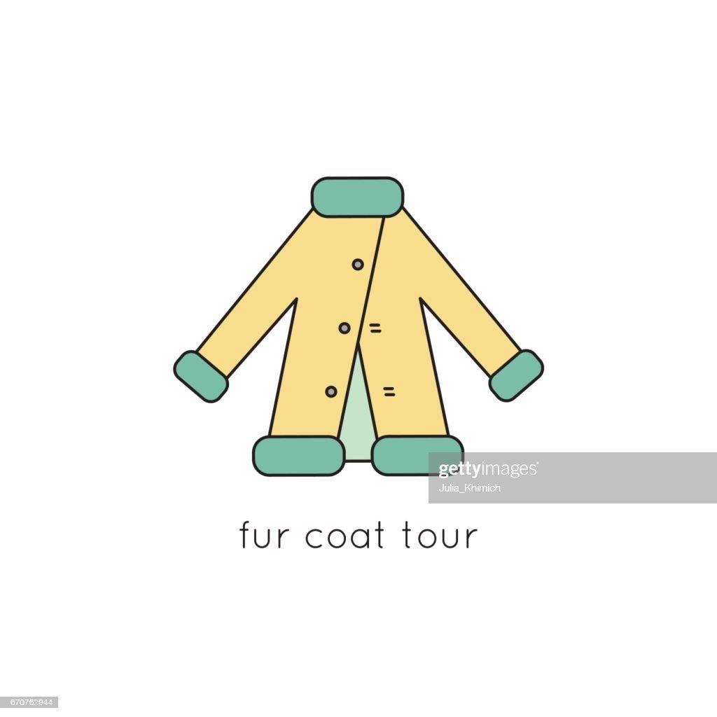 Fur coat line icon