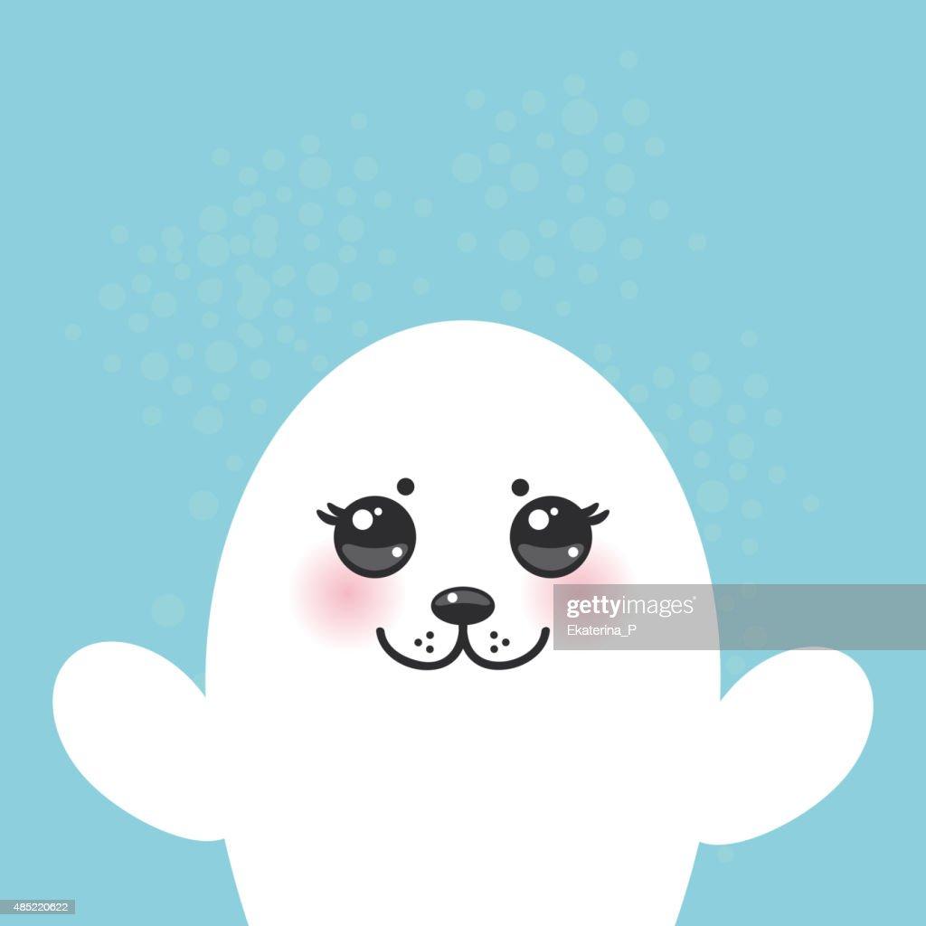 fur seal pups, cute big eyes. Kawaii albino blue background.