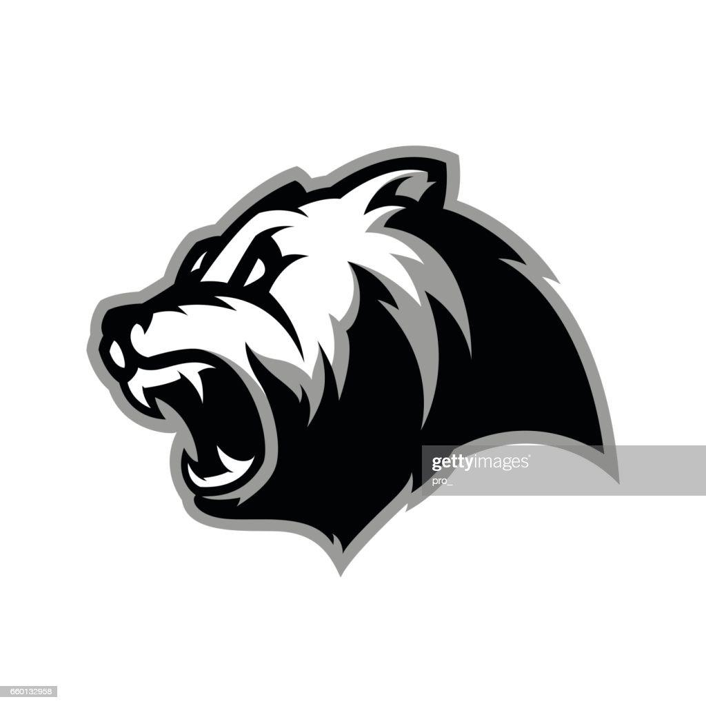 Furious bear head sport vector
