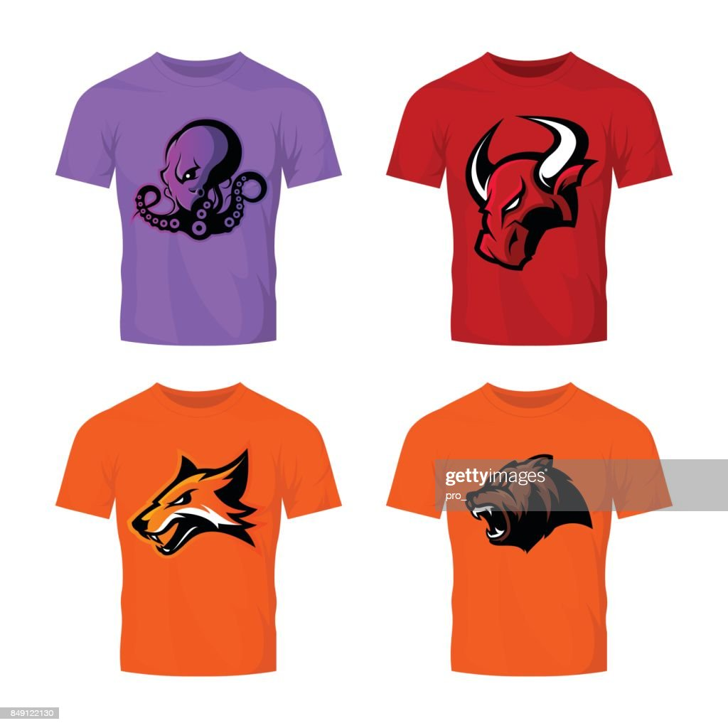 Furious bull, fox, bear and octopus sport vector emblem concept set isolated on white.