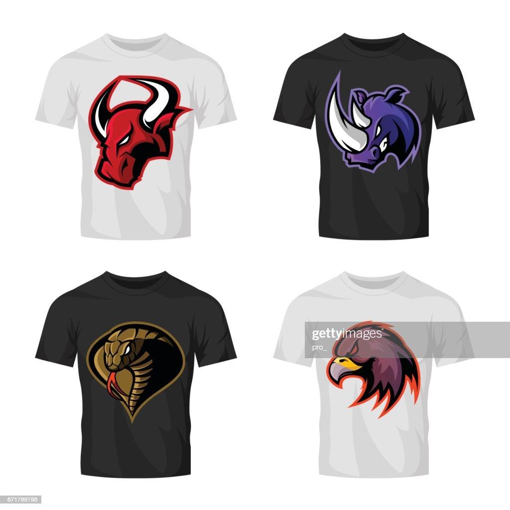 Furious bull, rhino, cobra and eagle head sport vector logo concept set isolated on t-shirt mockup.