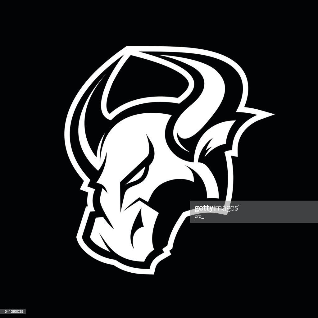 Furious bull sport mono vector logo concept isolated on dark background