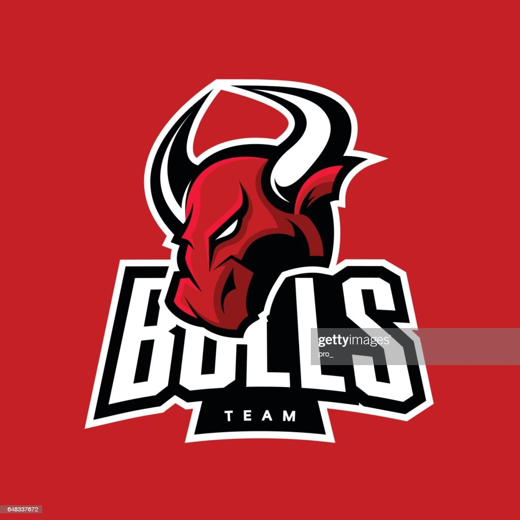 Furious bull sport vector logo concept isolated on red background.