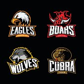 Furious cobra, wolf, eagle and boar sport vector logo concept set isolated on dark background