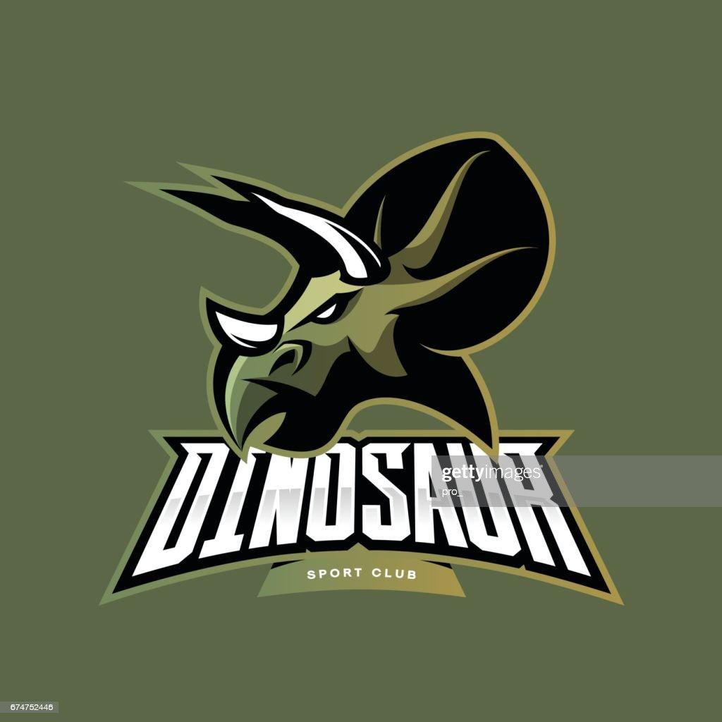 Furious dinosaur sport club vector icon concept isolated on khaki background.