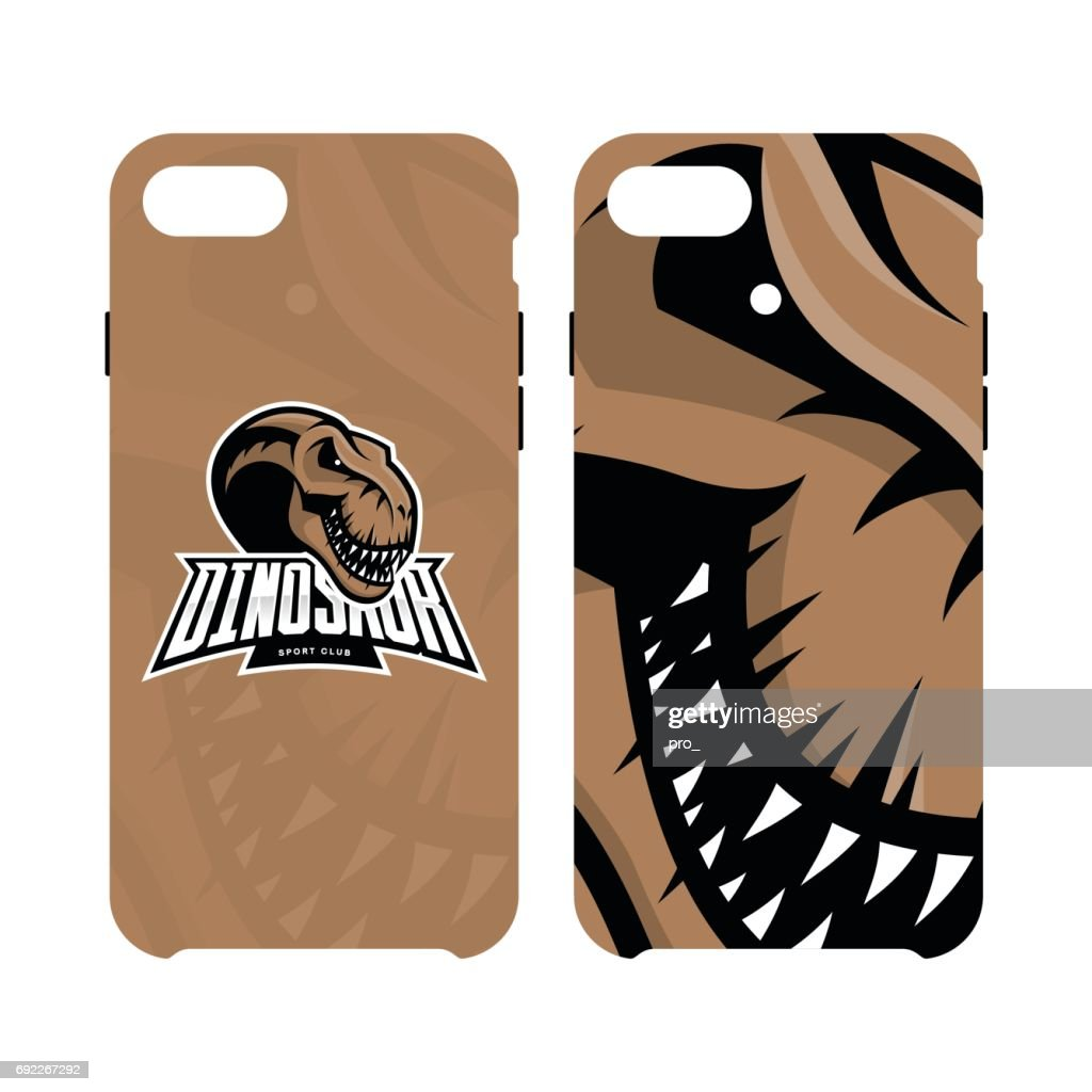 Furious dinosaur sport club vector symbol concept smart phone case isolated on white background.