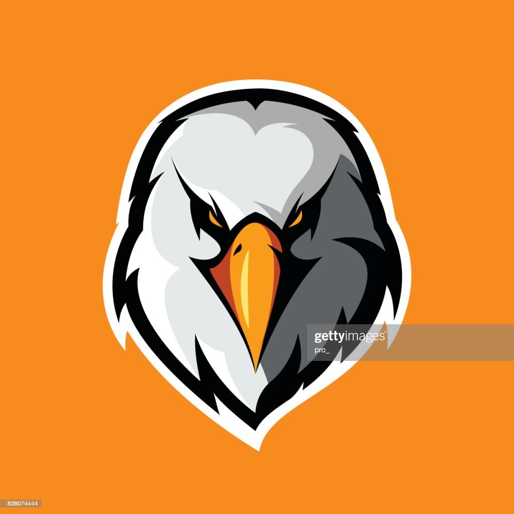 Furious eagle head athletic club vector logo concept isolated on orange background.