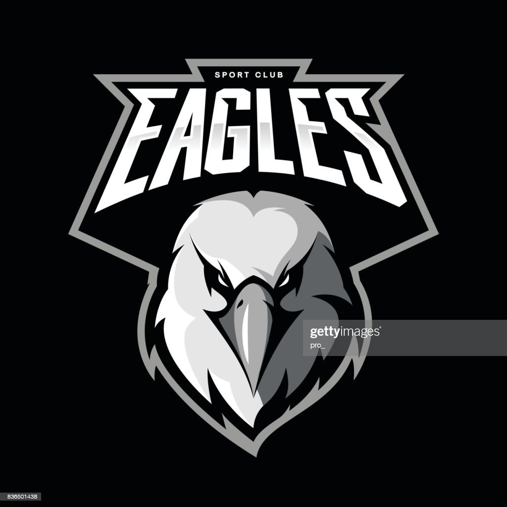 Furious eagle head athletic club vector symbol concept isolated on black background.