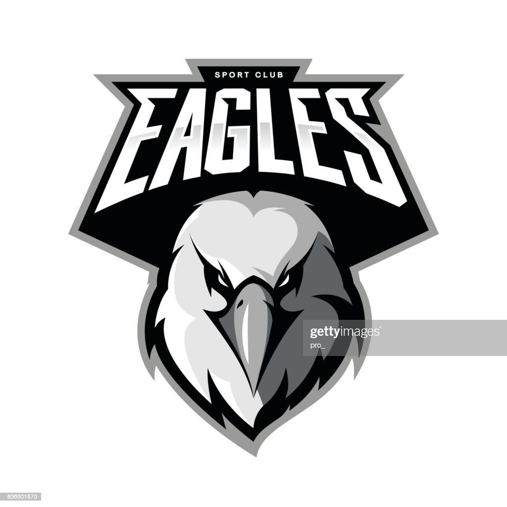 Furious eagle head athletic club vector symbol concept isolated on white background.