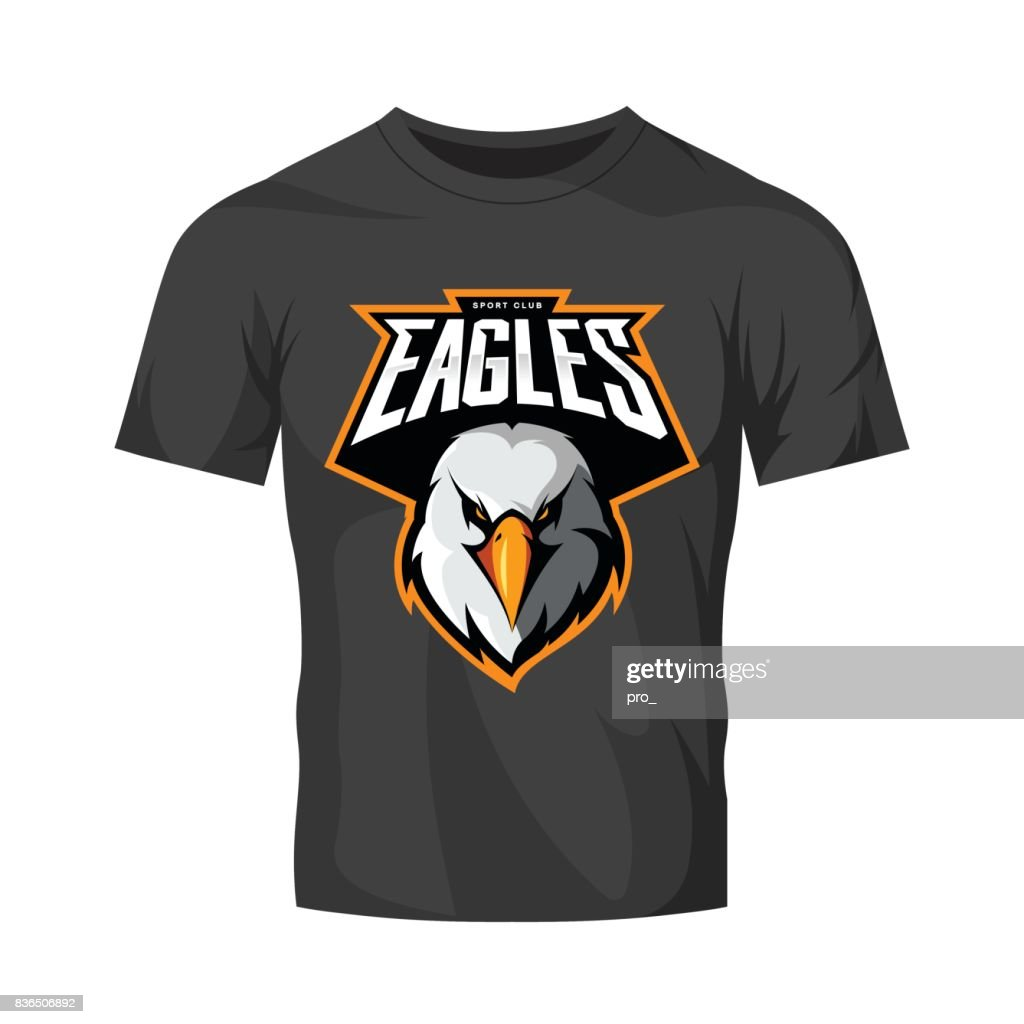 Furious eagle head athletic club vector symbol concept isolated on black t-shirt mockup.