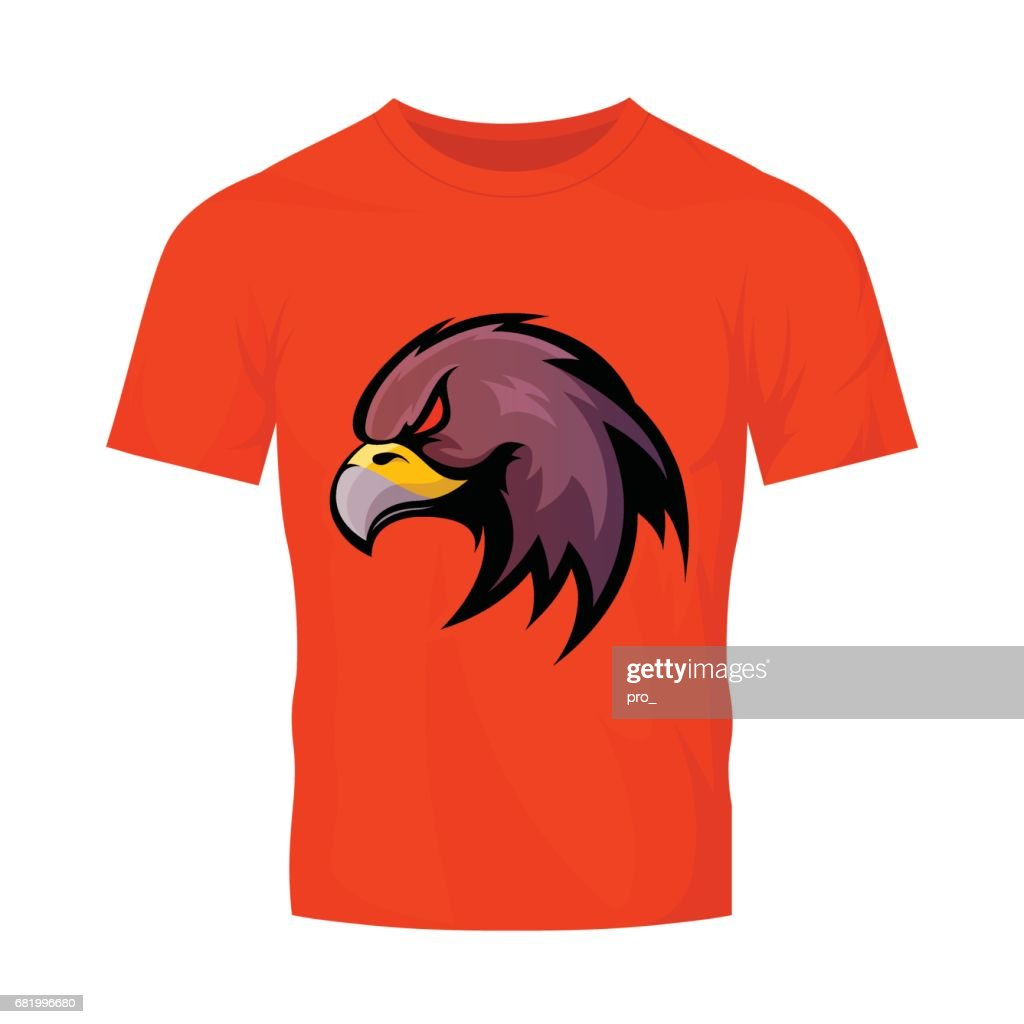 Furious eagle head sport vector icon concept isolated on orange t-shirt mockup.