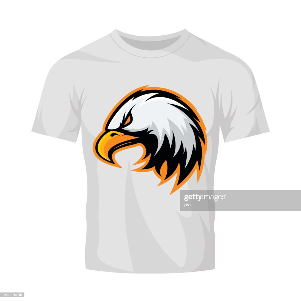 Furious eagle head sport vector icon concept isolated on white t-shirt mockup.