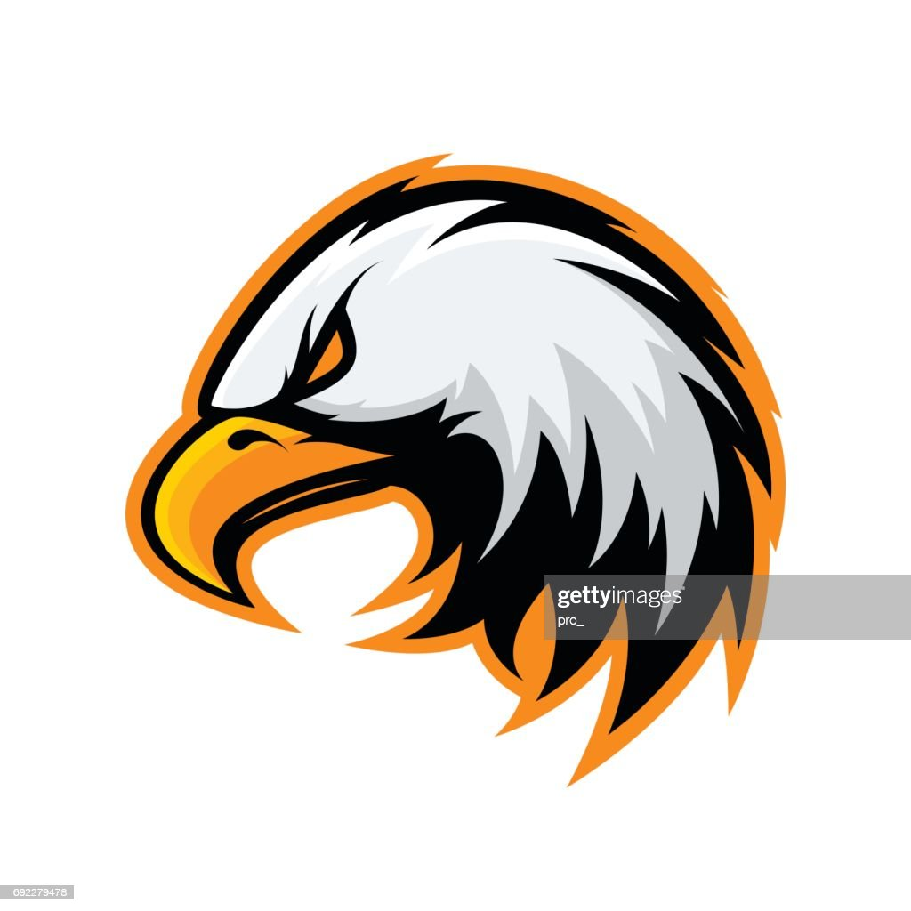 Furious eagle head sport vector icon concept isolated on white background.