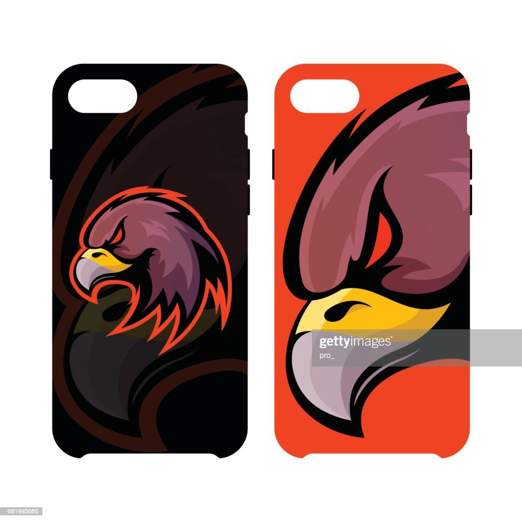 Furious eagle head sport vector icon concept smart phone case isolated on white background.