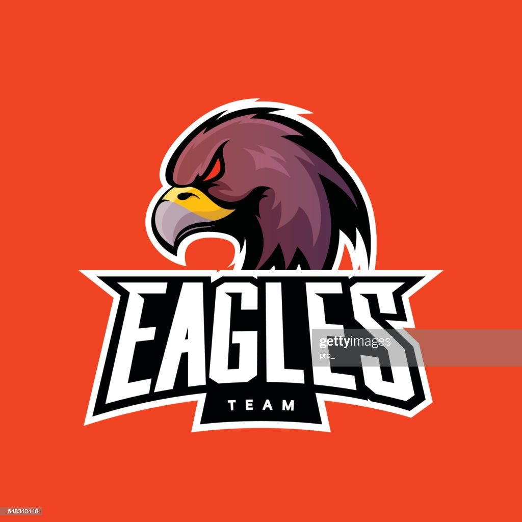 Furious eagle sport vector logo concept isolated on orange background.