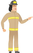 Furious firefighter screaming vector illustration