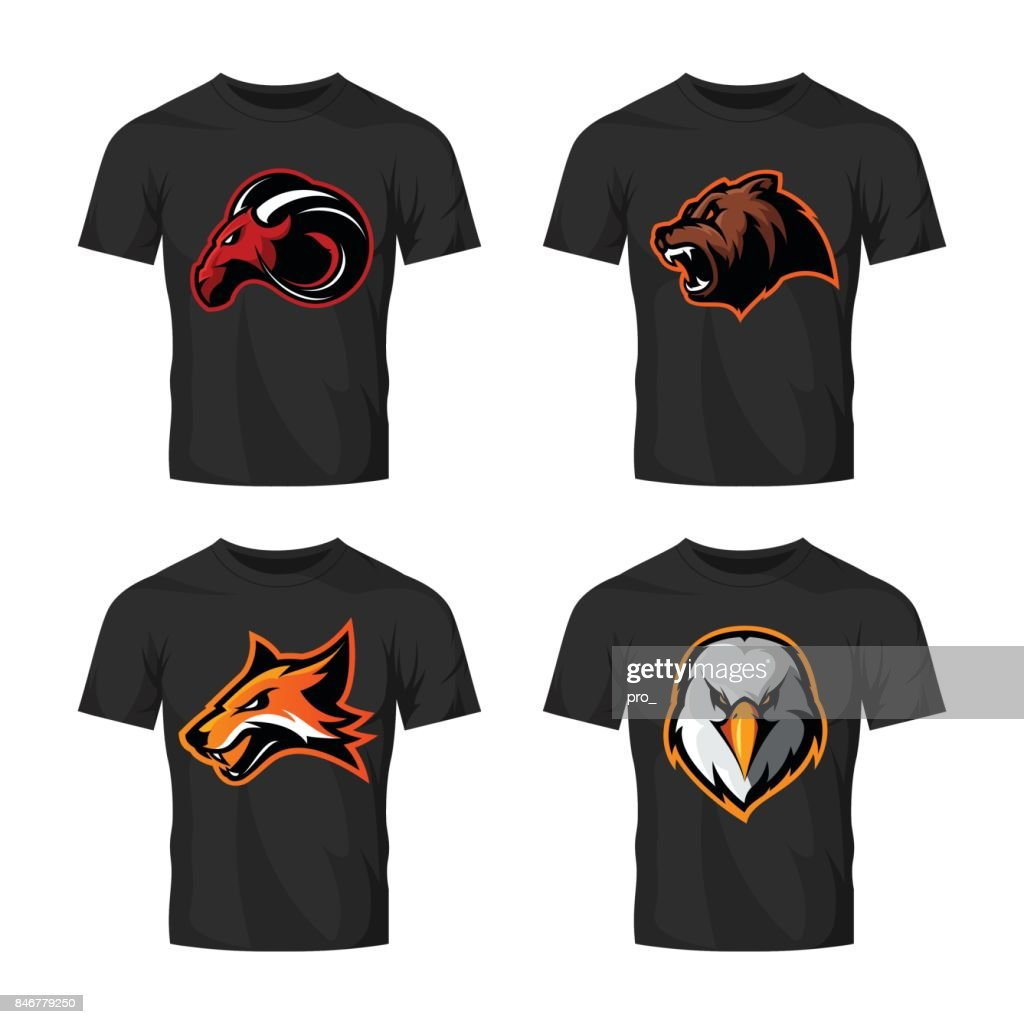 Furious fox, bear, eagle and ram sport vector icon concept set isolated on white.