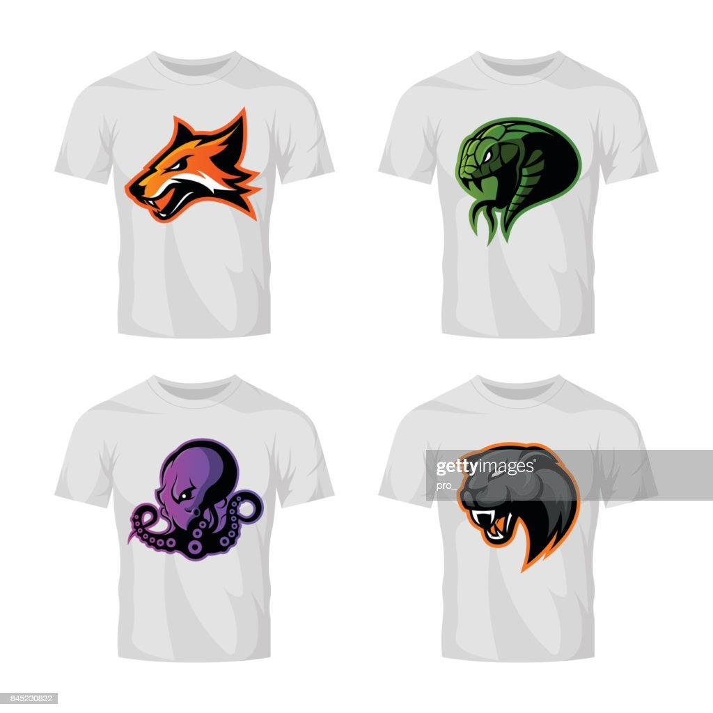 Furious fox, snake, octopus and panther sport vector logo concept set isolated on white background.