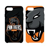 Furious panther sport vector logo concept phone case isolated on white background