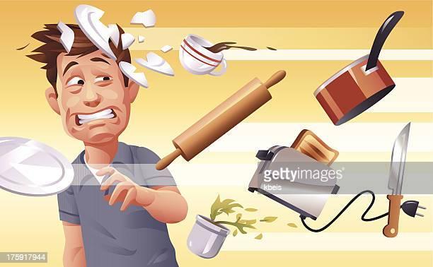 ilustraciones, imágenes clip art, dibujos animados e iconos de stock de furioso esposa - hombre sensible