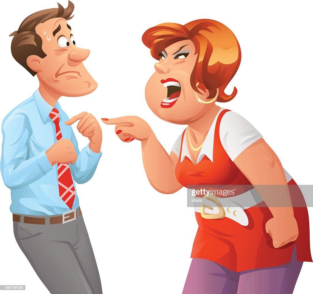 Furious Woman Shouting At Man