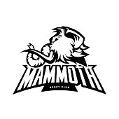 Furious woolly mammoth head sport vector icon concept isolated on white background.