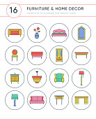 furniture and home decor colored vector icons