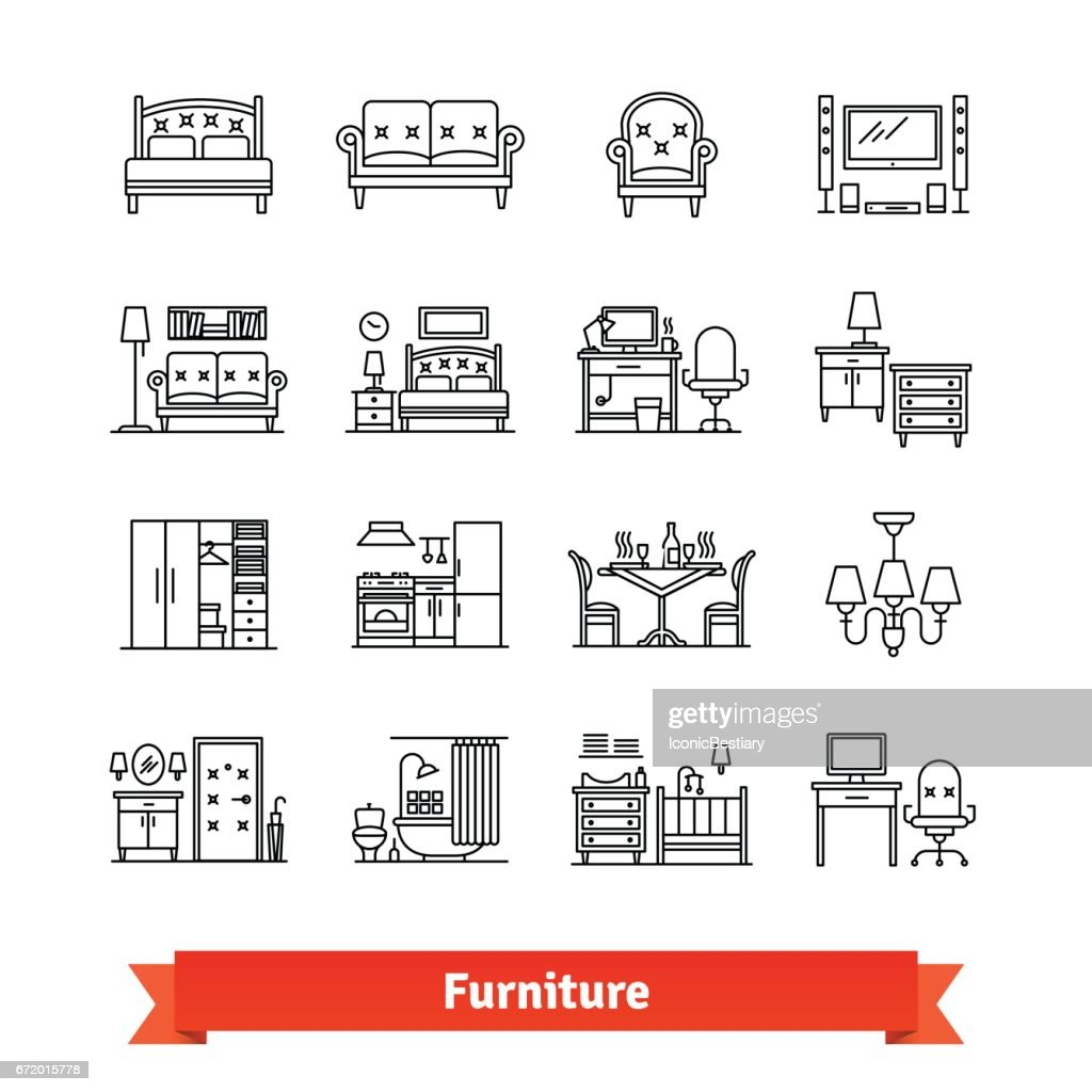Furniture and home decor. Thin line art icons set