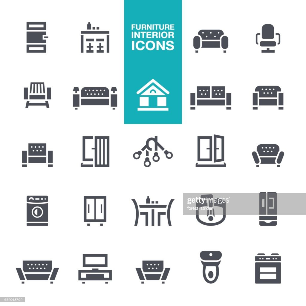 Furniture and Interior Features  icons : stock illustration
